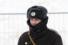Russian policeman in winter wear Stock Photo