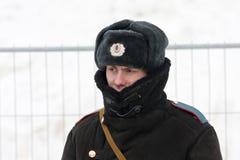 Russian policeman in winter wear. SAMARA, RUSSIA - March 6:Russian policeman in winter wear on March 6, 2012 in Samara, Russia stock photo