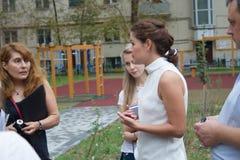 Russian politician Maria Gaidar at the meeting. Moscow, Russia - August 13, 2014. Russian politician Maria Gaidar at the meeting with residents of one of the Royalty Free Stock Photography