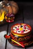 Russian porridge with pumpkin in hohloma dish Royalty Free Stock Photo