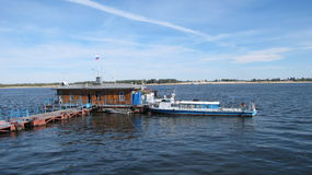 Russian Port View. It is a boat deck where Russians get boats to reach another islands Royalty Free Stock Photo