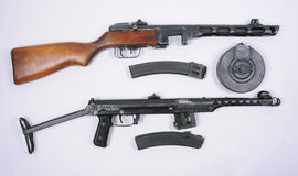 Russian PPsH 1941 and PPS 1943 guns Royalty Free Stock Photos