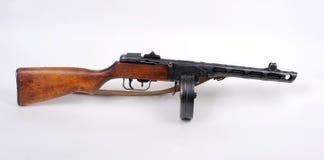 Russian PPSh machine gun. Russian Great Patriotic War (WW11) sub machine gun. 7.62mm PPSh 41 with drum magazine Stock Photos