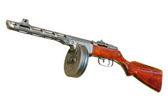 Russian PPsH machine gun.Isolated. Stock Photos