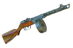 Russian PPsH machine gun taken closeup.Isolated. Royalty Free Stock Photos