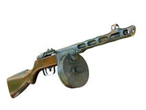 Russian PPSh machine gun taken closeup.Isolated. Stock Image