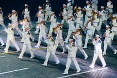 The Russian President's band at the Red Square. MOSCOW, RUSSIA - AUGUST 26, 2016: Spasskaya Tower international military music festival. The President's band at Stock Images