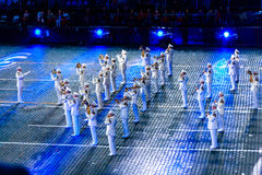 The Russian President's band at the Red Square. MOSCOW, RUSSIA - AUGUST 26, 2016: Spasskaya Tower international military music festival. The President's band at Royalty Free Stock Photos
