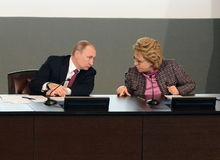 Russian President Vladimir Putin and the President of the Council of Federation of the Federal Assembly of the Russian Federation Stock Image