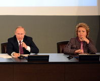 Russian President Vladimir Putin and the President of the Council of Federation of the Federal Assembly of the Russian Federation Royalty Free Stock Photos