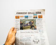 Russian presidential election from 2018 with the winner Vladimi. PARIS, FRANCE - MAR 19, 2018: POV at Italian Corriere della Sera newspaper with portrait of Stock Images