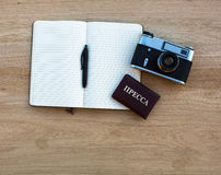Russian press card, camera and Notepad Stock Photos