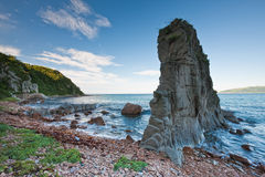 Russian, Primorye, Boulder on sea coast Royalty Free Stock Images