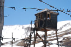 Russian prison, jail, altai, barbed wire Royalty Free Stock Photos