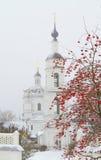 Russian province. Nikolsky Chernoostrovsky Convent in town Malojaroslavets. Kaluga region of Russia stock image