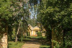 Spring in a small town in Moscow region royalty free stock image