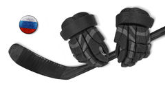 Russian puck, gloves and hockey stick Stock Images