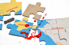 Russian puzzles with annexation of the Crimea Stock Photos