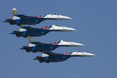 Russian quartet. Su-27 fours rope in Kecskemet air show Royalty Free Stock Photography