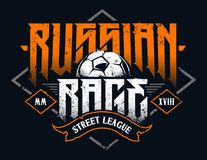 Russian Rage Typography. Vector emblem with soccer ball. Grunge style football emblem Royalty Free Stock Image