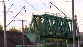 Russian railways. Alone electric locomotive rides over the bridge. Lyubertsy, Moscow region, Russia. 6 Sep 2014. Alone electric locomotive rides over the bridge stock video