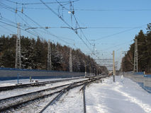 Russian Railways cold winter Stock Image