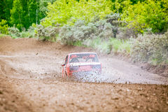 Russian rally racing car in smoke Royalty Free Stock Image