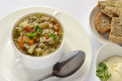 Russian rassolnik soup with pearl barley Stock Image
