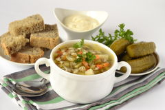 Russian rassolnik soup with pearl barley Stock Photos