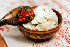 Tradicional russian ravioli with meat ( Pelmeni ) royalty free stock images