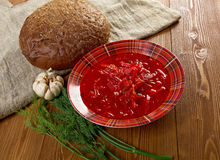 Russian red-beet soup (borscht) Royalty Free Stock Photography