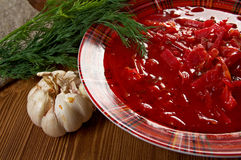Russian red-beet soup (borscht) Royalty Free Stock Images