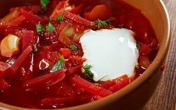 Russian red-beet soup (borscht) Stock Image