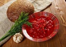 Russian red-beet soup (borscht) Stock Photo