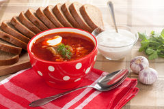 Russian red borscht Stock Photos
