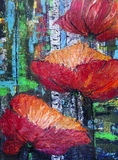 Russian red poppies. The Russian red poppies in the birch forest. Handmade abstract acrylic art illustration Stock Photo