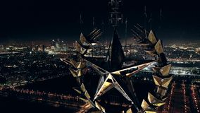 Soviet Golden Star. Russian Red star on a dark night sky background.On top of main building of Lomonosov Moscow State University MSU on Sparrow Hills,famous stock video footage