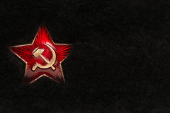 Russian Red Star with Hammer and Sickle on Fur Royalty Free Stock Images