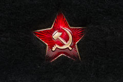 Russian Red Star with Hammer and Sickle on Fur Stock Photography