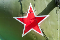 Russian red star painted on tank Royalty Free Stock Photography
