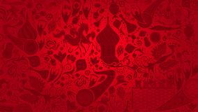 Russian red wallpaper, vector illustration. Russian red wallpaper, 16:9 aspect ratio, world of Russia pattern with modern and traditional elements, 2018 royalty free illustration