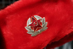 Russian red winter hat Royalty Free Stock Photo