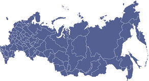 Russian regions vector map Stock Photography
