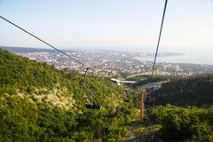Russian resort of Gelendzhik with top view of  mountain lift and Stock Photo