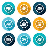 Russian restrictions on imports and exports Icons Set. Vector Illustration. Stock Image