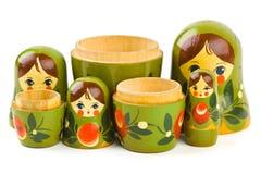 Russian retro toy matrioska. Isolated on white background Royalty Free Stock Photos