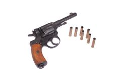 Russian revolver Nagant with ammo Royalty Free Stock Photography