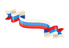 Russian ribbons in flag colors. Stock Photo