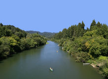 Russian River, California. Kayakers along the Russian River as it flows through Guerneville, CA Stock Image
