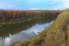 The Russian River landscape in the yellow autumn Stock Photography